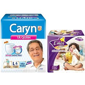 Tã Quần Caryn Siêu Thấm L6 (6 Miếng) - Tặng 1  khăn giấy Emos 100 tờ