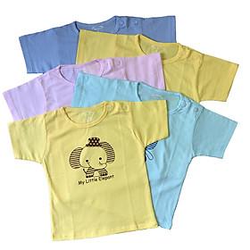 Combo 5 áo sơ sinh cài vai tay ngắn màu Thái Hà Thịnh