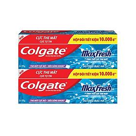 Bộ 2 hộp đôi kem đánh răng Colgate Maxfresh Twin bạc hà 175g/tuýp