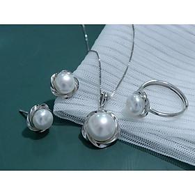 Bộ trang sức ngọc trai nước ngọt và bạc