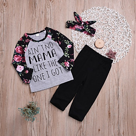 Children Princess Girl Clothes Set fly sleeve romper +floral pants +headband clothes autumn wear 0-18m