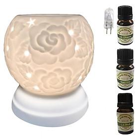 Hình đại diện sản phẩm 3 tinh dầu (Sả chanh, bạc hà, cà phê) Eco 10ml và đèn xông tinh dầu MNB22 và 1 bóng đèn