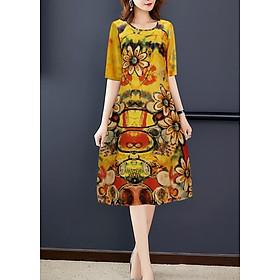 Đầm Suông Tuổi Trung Niên Đẹp Kiểu Đầm Suông Công Sở Có Size Lớn GOTI 3213D