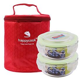 Bộ 2 hộp thủy tinh tròn HappyCook 400ml Kèm Túi Giữ Nhiệt 400ml HCG-02CE