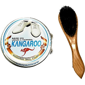 Combo Xi đánh giày Kangaroo Hàn Quốc + Bàn chải đánh giày cán gỗ