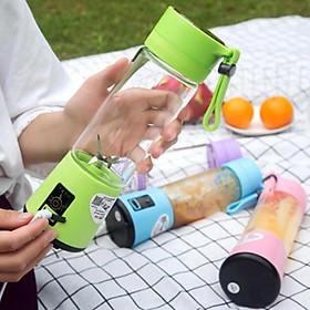 Máy Xay Sinh Tố Cầm Tay Mini Sạc Pin Tích Điện Tiện Lợi, Máy Xay Hoa Quả 4 Lưỡi Dao Công Suất Cao