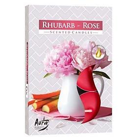 Hộp 6 nến thơm tinh dầu Tealight Bispol Rhubarb Rose QT024731 - hồng đại hoàng gia