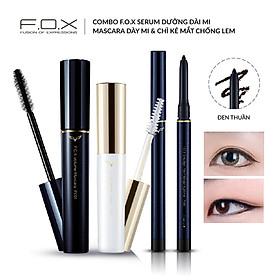 Combo F.O.X Serum Dưỡng Dài Mi - Mascara Dày Mi & Chì Kẻ Mắt Chống Lem