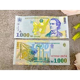 Tiền cổ Romania 1000 Lei sưu tầm, quốc gia châu Âu, mới 100% UNC, tặng túi nilon bảo quản