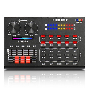 R8 Live Sound Card with USB Audio Cables + Pair Earphones Anchor Singing Computer Microphone Voice Change