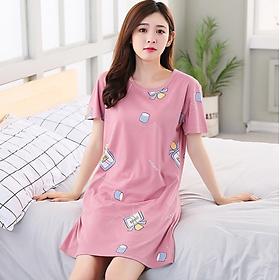 Váy ngủ nữ mùa hè ngắn tay dáng rộng họa tiết dễ thương - AG80