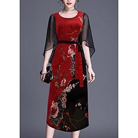 Đầm Suông Trung Niên Kiểu Đầm Suông BigSize In Hoa Lá Cột Eo GOTI 3205