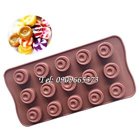 Khuôn làm bánh, rau câu, kẹo dẻo, socola silicon vĩ 15 hình xoáy - Mã số 1607
