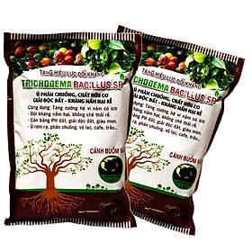 Combo 2 gói Chế phẩm vi sinh Trichoderma TRIBAC 1kg. Ủ phân rác bã hữu cơ hoai mục không mùi hôi. Đối kháng nấm hại, khống chế thối rễ. HSD: 2 năm