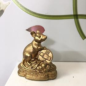 Tượng đá trang trí để bàn làm việc Chuột phong thủy - Màu nhũ vàng