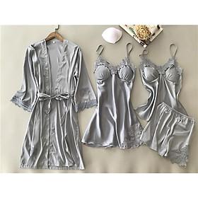 Combo 3 món đồ ngủ nữ áo choàng + váy ngủ  + bộ quần áo ngủ