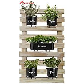Kệ gỗ trang trí ban công, kệ trang trí Anzzar treo cây, hoa