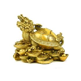 Tượng Long Quy rùa đầu rồng cõng gậy như ý bằng đồng thau phong thủy Tâm Thành Phát