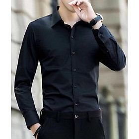 Áo sơ mi nam dài tay màu đen