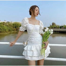 Đầm trắng nhún thân, rút dây thân tầng M.O.N Boutique