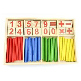 Bộ đồ chơi hộp que tính bằng gỗ dành cho bé học toán căn bản