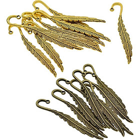 20Pcs Feather Bookmark Hooks Beading Book Marks Findings Bronze+Golden