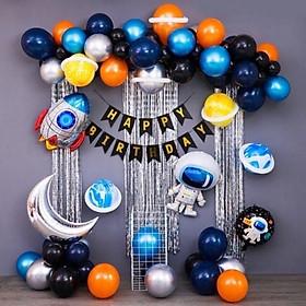Set bong bóng trang trí sinh nhật happy birthday chủ đề phi hành gia cho bé trai bé gái đầy đủ phụ kiện SN30