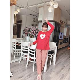 Bộ Thun Dài Cho Mẹ Bầu và Sau Sinh Kẻ Caro Đẹp ( Free size ) - Tặng 01 quần lót bầu màu ngẫu nhiên XL