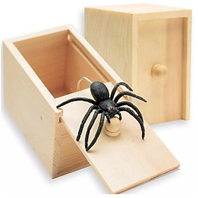 April Fool's Day Prank Spider Toy Wooden Box Practical Joke Home Office Panic Funny Surprise Gift Decoration