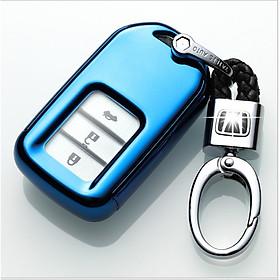 Ốp, bọc chìa khóa silicon màu tráng gương bảo vệ chìa khóa cho xe Honda CR-V, Civic, City…kèm móc đeo INOX