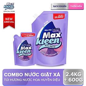 Combo Nước giặt xả Maxkleen Hương Nước Hoa Huyền Diệu: 1 Túi 2.4kg + 1 Túi 600g