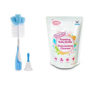 Combo cọ rửa bình sữa siêu bền Munchkin và túi nước rửa bình sữa unimom