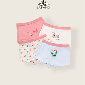Set 4 chiếc quần chip bé gái, quần lót cho bé gái cotton cao cấp họa tiết Dưa hấu dễ thương hãng LASAMO mã QLB004