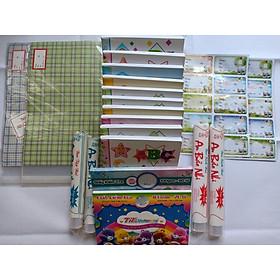 Combo bộ dụng cụ học tập gồm 10 quyển tập 96 trang 4 ôly,2 xấp nhãn,2 cuộn giấy kiếng bao sách,2 cuộn giấy kiếng bao tập,2 xấp giấy bao tập trong giấy ngoài kiếng,2 xấp giấy kiểm tra (20 đôi)