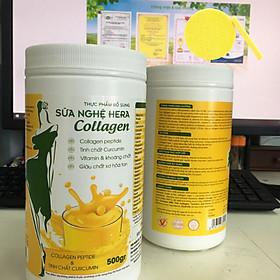 Sữa nghệ Hera Collagen hộp 500gr - Tặng Kèm Bông Rửa Mặt
