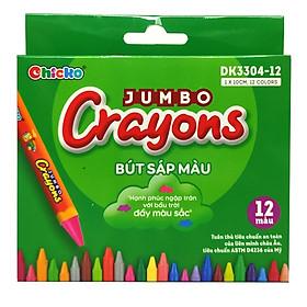 Bút Sáp Màu Chicko Jumbo Crayons - 12 Màu - DK3304-12
