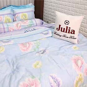 Hình đại diện sản phẩm Bộ 5 Món Chăn Ga Gối 100% Cotton Sợi Bông Hàn Julia 192BC16 - Có Chăn Chần Gòn (1m6 x 2m)