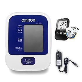 Máy đo huyết áp bắp tay Omron HEM-8712 + Tặng bộ đổi nguồn + Tặng máy đo đường huyết Gluneo Lite Hàn Quốc