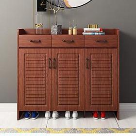 Tủ để giày gỗ cao cấp có 4 cánh và 3 ngăn kéo TUR020