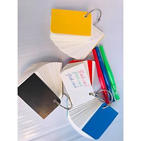combo 5 tập flashcard chiếc lá siêu đẹp tặng kèm 1 bút màu ngẫu nhiên như hình. Flashcard thẻ học từ vựng tiếng anh nhật hàn trung cao cấp | Bộ thẻ học tiếng nước ngoài (500 FLASHCARD TRẮNG ĐỤC BO GÓC) tặng kèm khoen