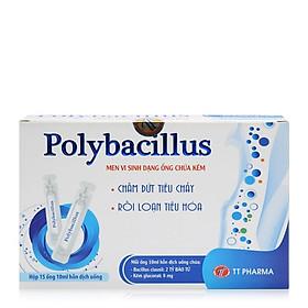 Thực phẩm bảo vệ sức khỏe Polybacillus hộp 15 ống-  Chứa lợi khuẩn và Kẽm giúp phòng ngừa và hỗ trợ điều trị bệnh lý kém hấp thu, biếng ăn, chậm lớn ở trẻ em
