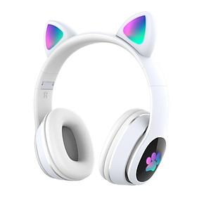 L400 Over Ear Music Headset Glowing Cat Ear Headphones 7 Color Breathing Lights Foldable Wireless BT5.0 Earphone with