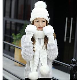 Bộ mũ len nữ kèm khăn và găng tay phong cách Hàn cao cấp