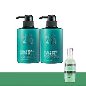Bộ Gội + Xả Giữ Màu Nước Hoa Livegain Premium Silky & Shine 900ml HQ + Tặng 1 Chai Xịt Dưỡng ARTE Hàn Quốc 120ml