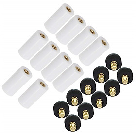 10pcs/set Cue Tips Billiard Replacement Screw-on Tips with Pool Cue Stick Ferrules