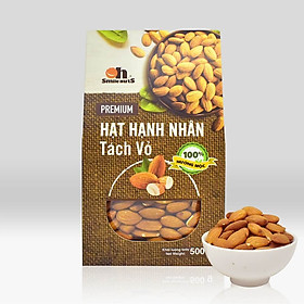 Hạt Hạnh Nhân Tách Vỏ Nướng Mộc Smile Nuts Hộp Giấy 500g - Hạnh nhân nhập khẩu từ Mỹ, nướng mộc giòn rụm, thơm ngon
