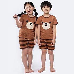 Đồ bộ cotton mặc nhà mùa hè cho bé trai, bé gái Unifriend size 2, 5, 6, 7, 8, 9, 10 tuổi