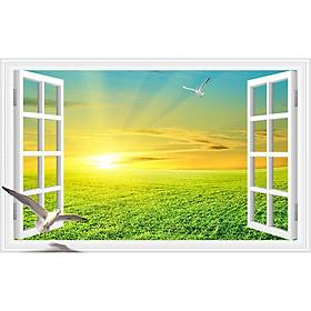Tranh dán tường cửa sổ phong cảnh 3d 26