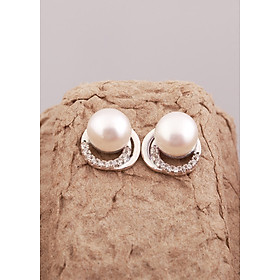 Bông tai bạc cao cấp tròn đính ngọc trai thiết kế từ thương hiệu OPAL - YOT12-12