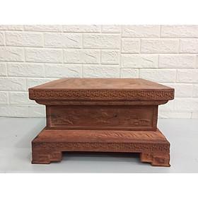 Đôn vuông kê tượng gỗ Hương đỏ ( gỗ hương xịn vân gỗ đẹp) #90 - Đôn đang để gỗ mộc tự nhiên